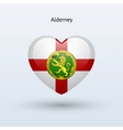 Love alderney symbol heart flag icon vector