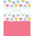 Colorful cupcake party vertical torn frame vector