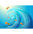 Fishes riding waves vector