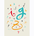 Calligraphic hand written lowercase alphabet vector
