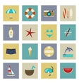 Beach vacation and travel flat icons set vector