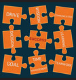 Jigsaw puzzle pieces with words on the topic of su vector