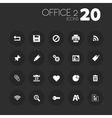Thin office 2 icons on dark gray vector