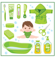 Set of children things for bathing vector