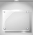 Square advertising glass board with a spot lignt vector