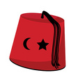 Turkish hat with star and crescent vector
