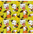 Cartoon puppies seamless pattern vector
