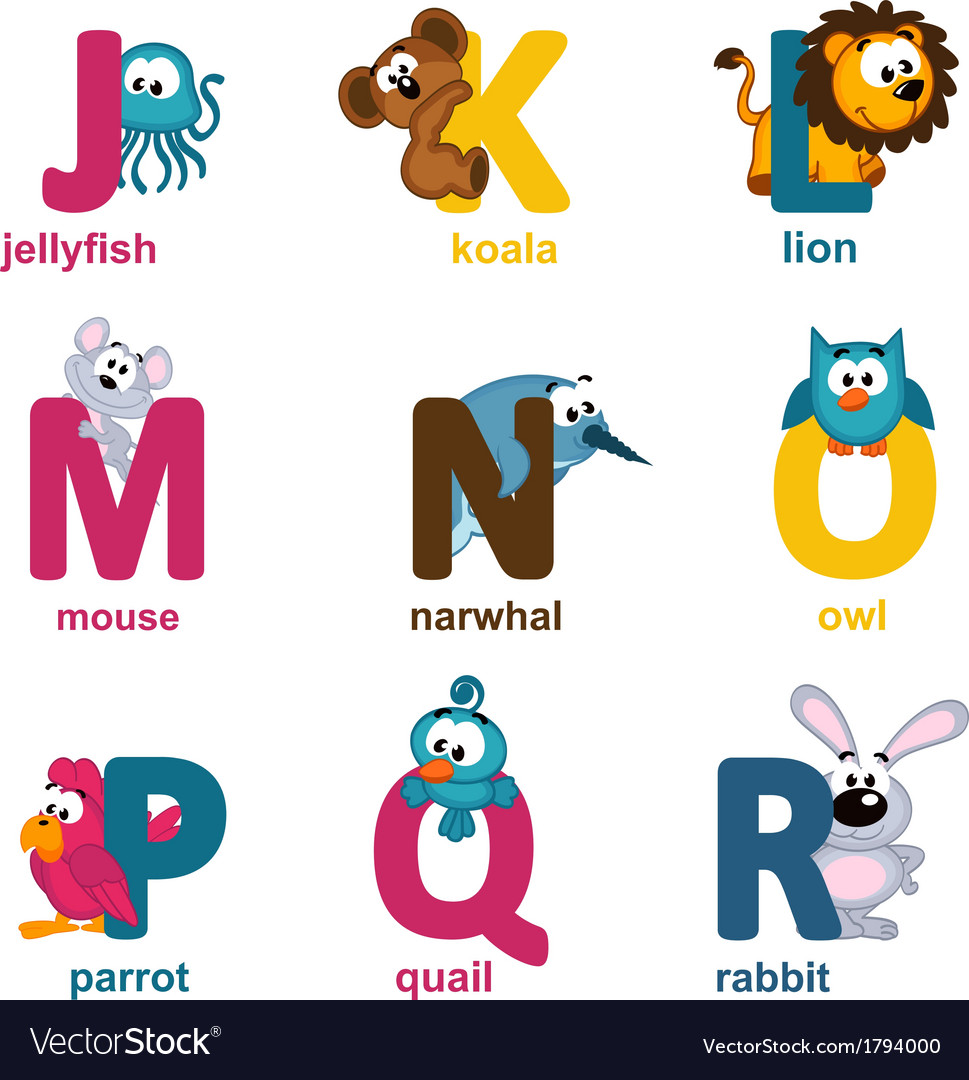 Alphabet animals from j to r vector | Price: 1 Credit (USD $1)