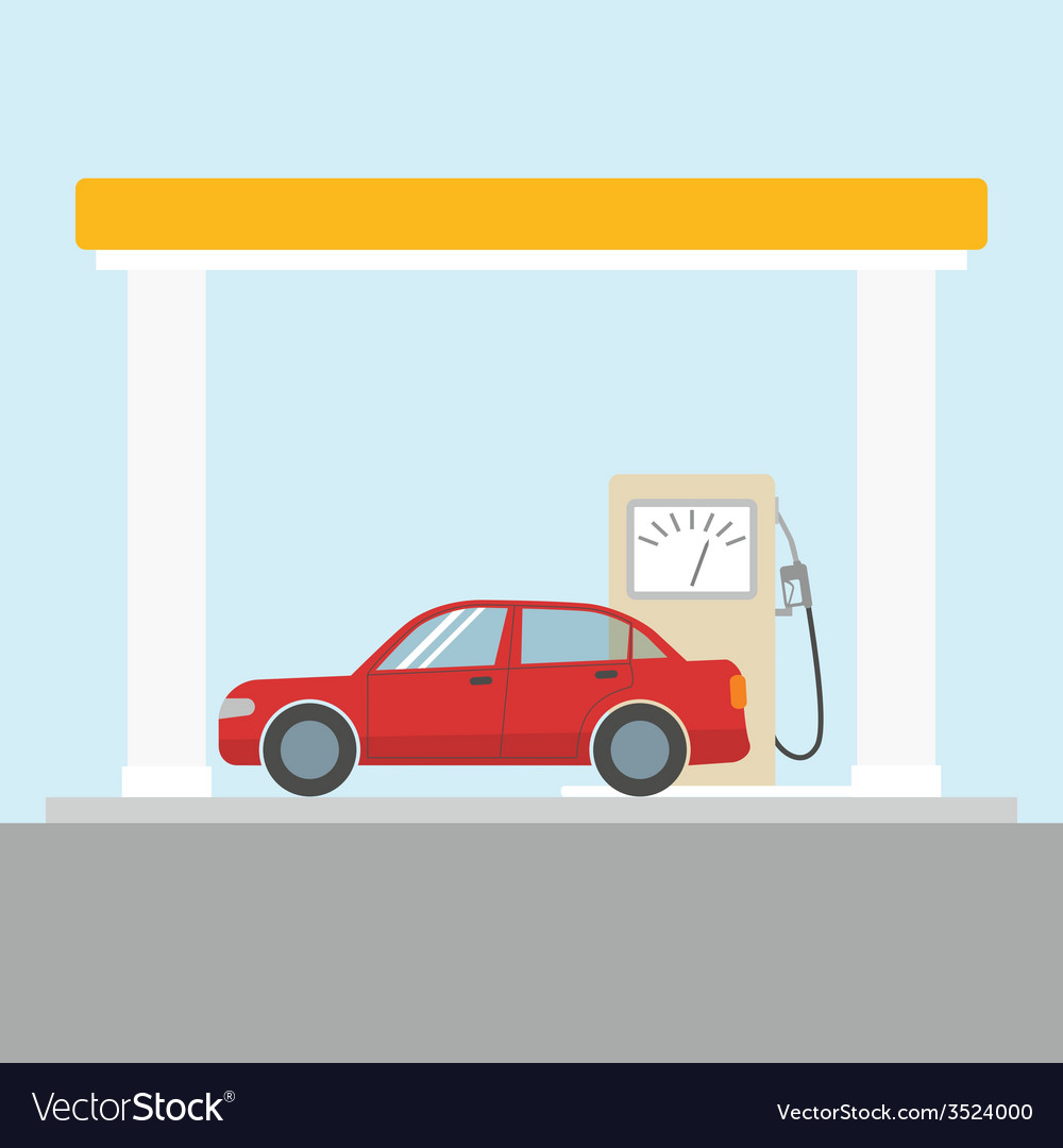 Car at the gas station vector | Price: 1 Credit (USD $1)