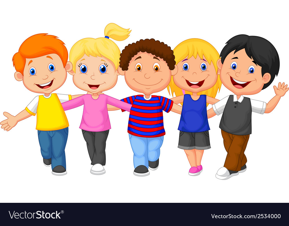 Happy kid cartoon walking together vector | Price: 1 Credit (USD $1)