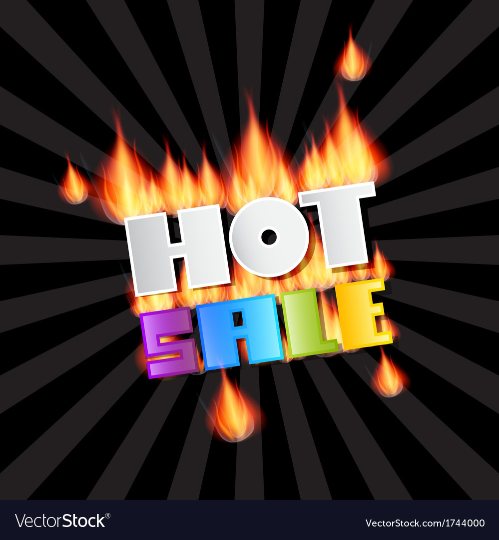 Hot sale title in flames vector | Price: 1 Credit (USD $1)