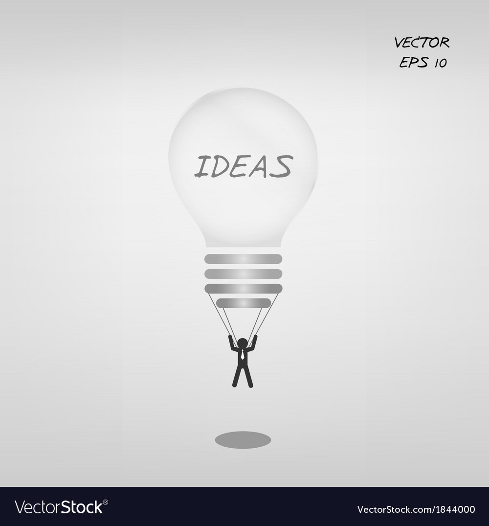 Light bulb parachute with businessman vector | Price: 1 Credit (USD $1)