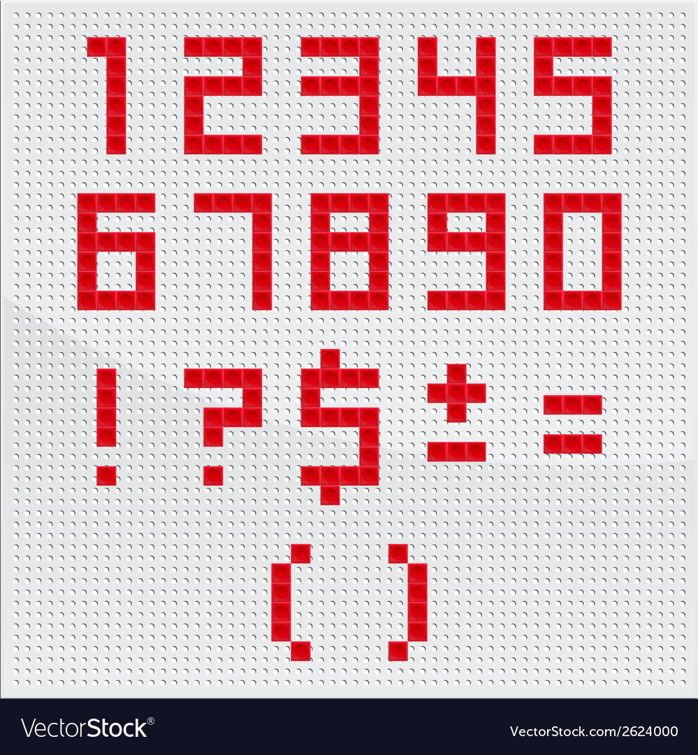 Red mosaic number vector | Price: 1 Credit (USD $1)