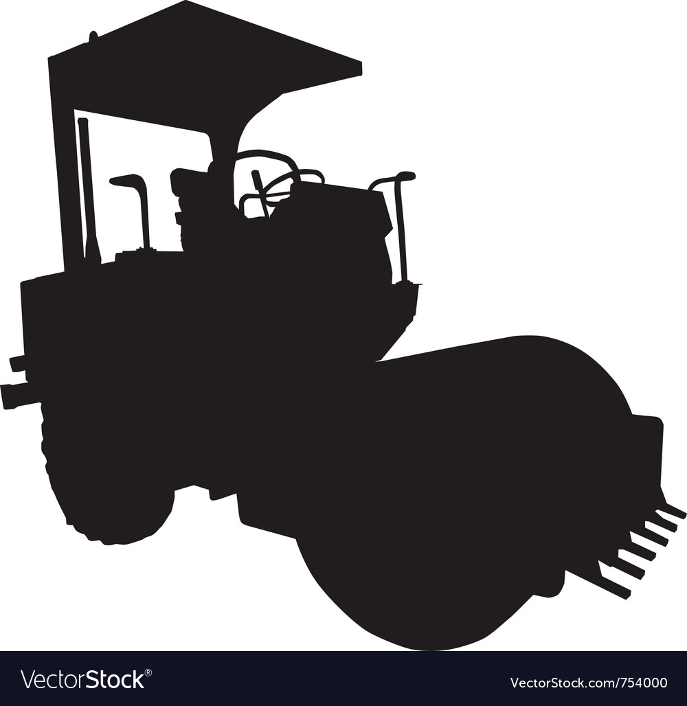 Road roller black and white silhouette on iso vector   Price: 1 Credit (USD $1)