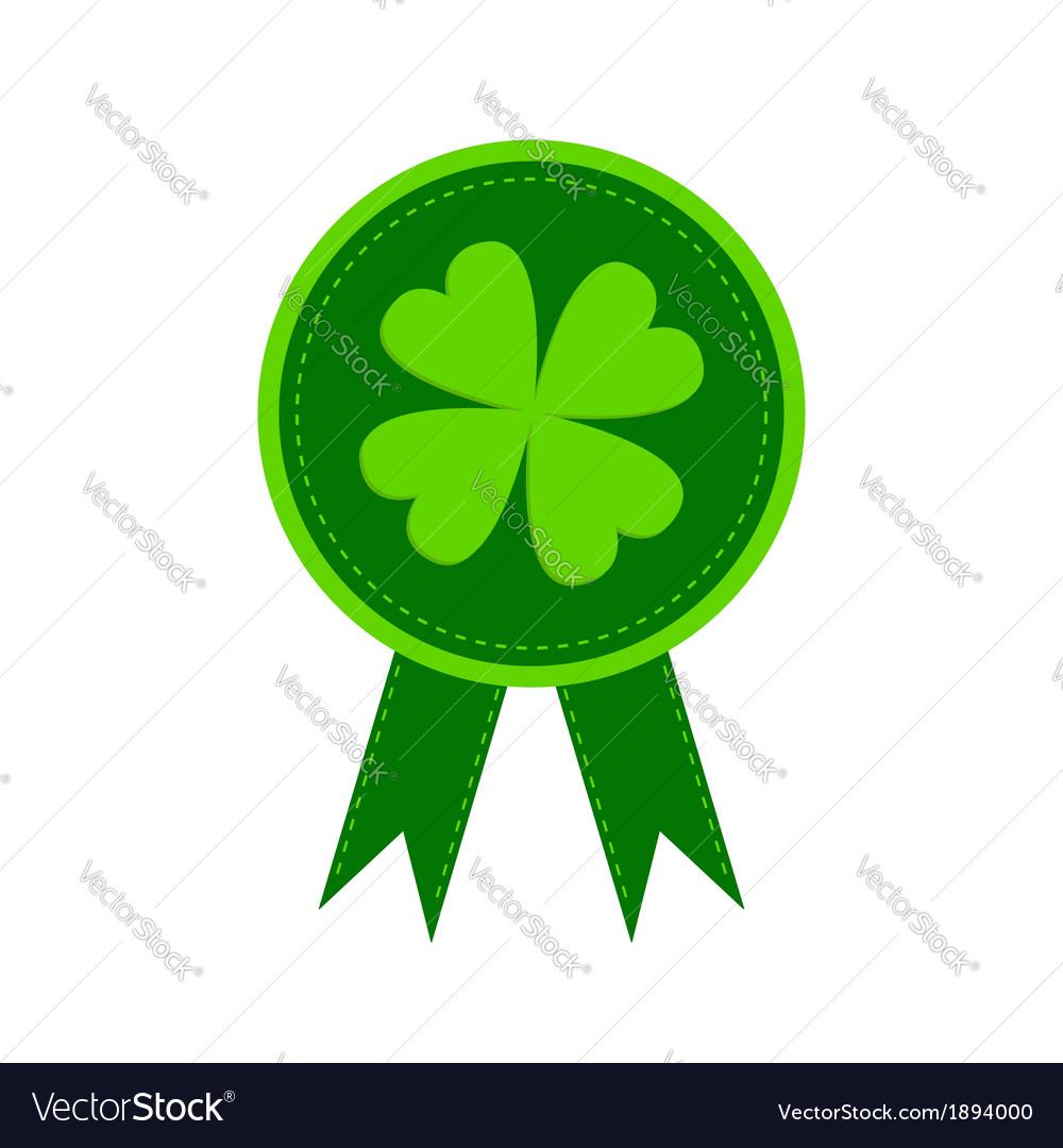 Round award with clover leaf and ribbons vector | Price: 1 Credit (USD $1)