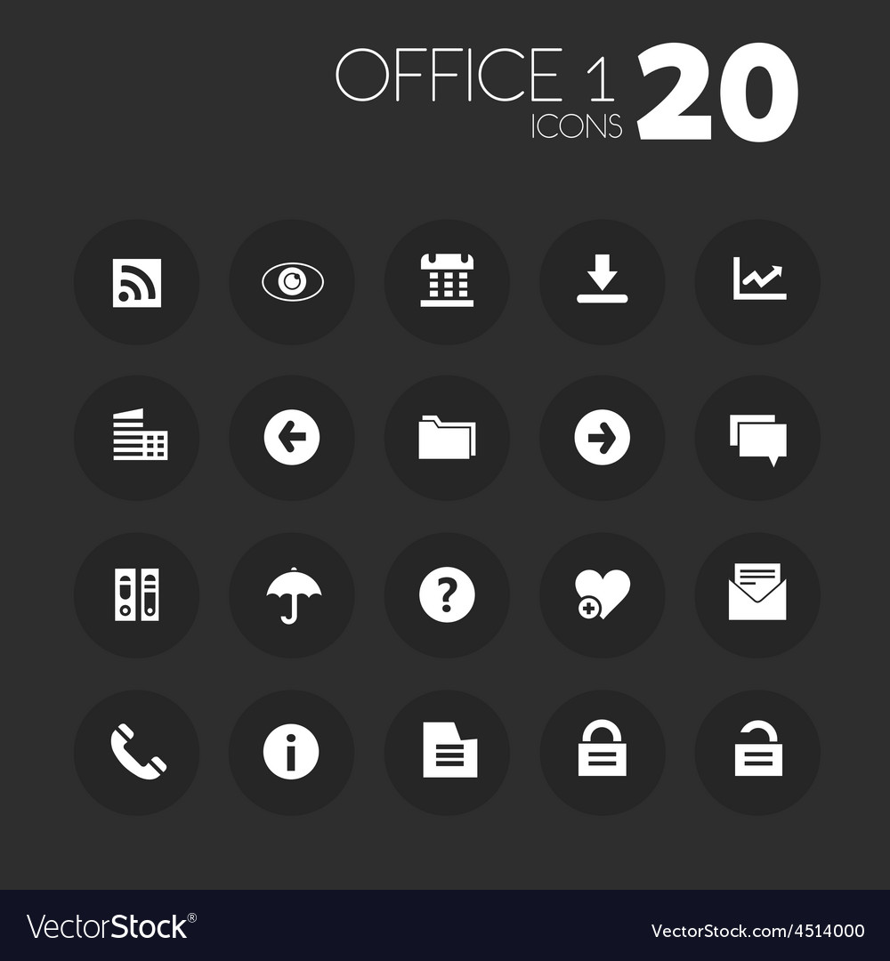 Thin office 1 icons on dark gray vector | Price: 1 Credit (USD $1)