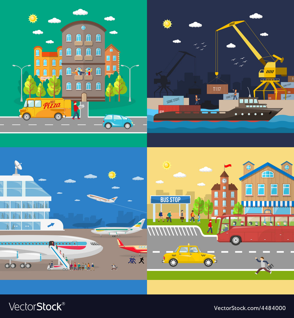 Transportation of passengers and goods delivery vector | Price: 1 Credit (USD $1)