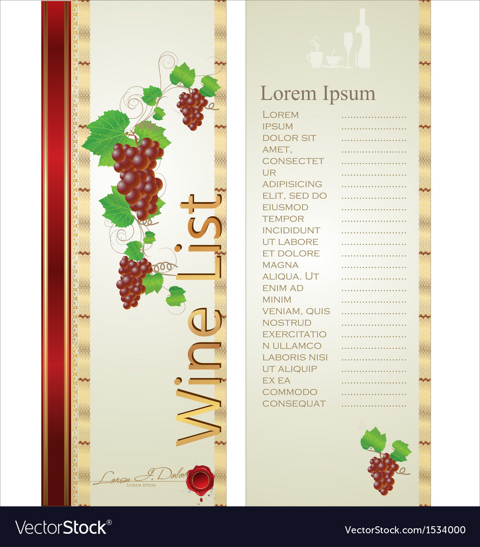 Wine list background vector | Price: 1 Credit (USD $1)