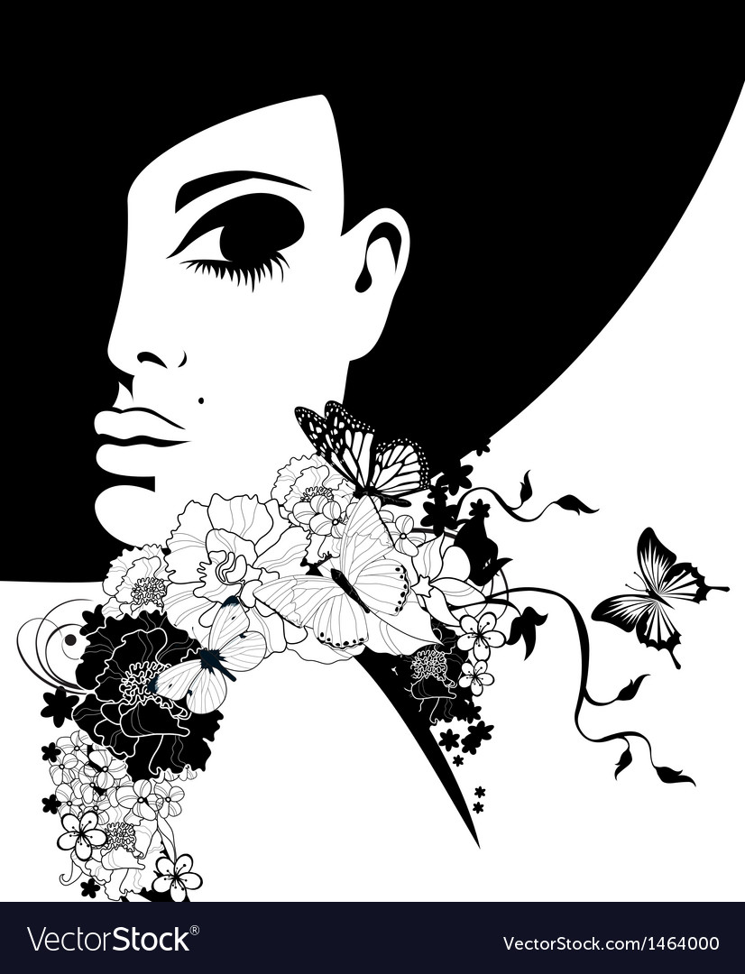 Woman in a black hat with flowers and butterflies vector | Price: 1 Credit (USD $1)