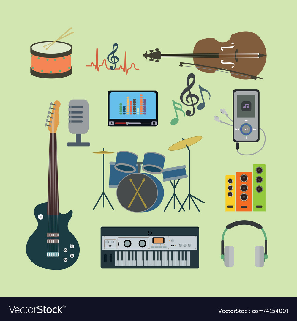 Flat icons music set vector | Price: 1 Credit (USD $1)