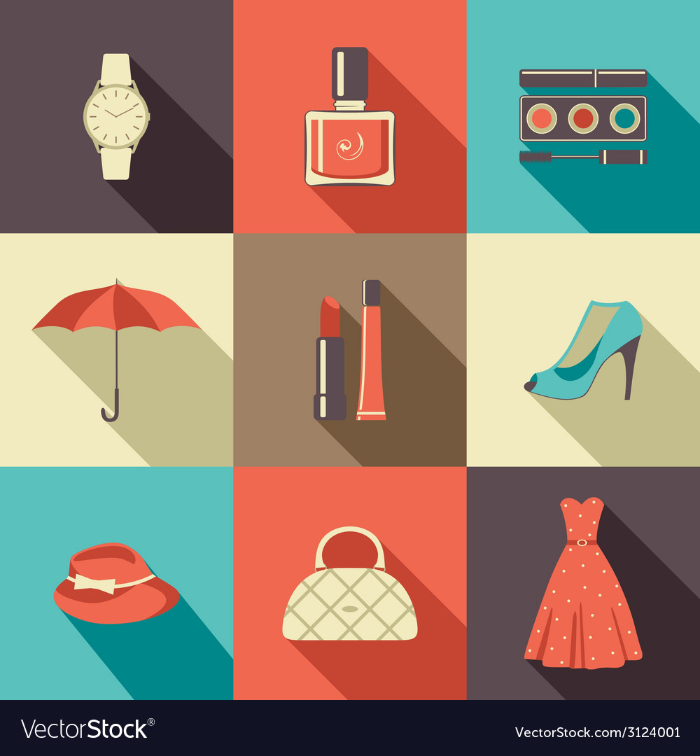 Flat icons with accessories vector | Price: 1 Credit (USD $1)