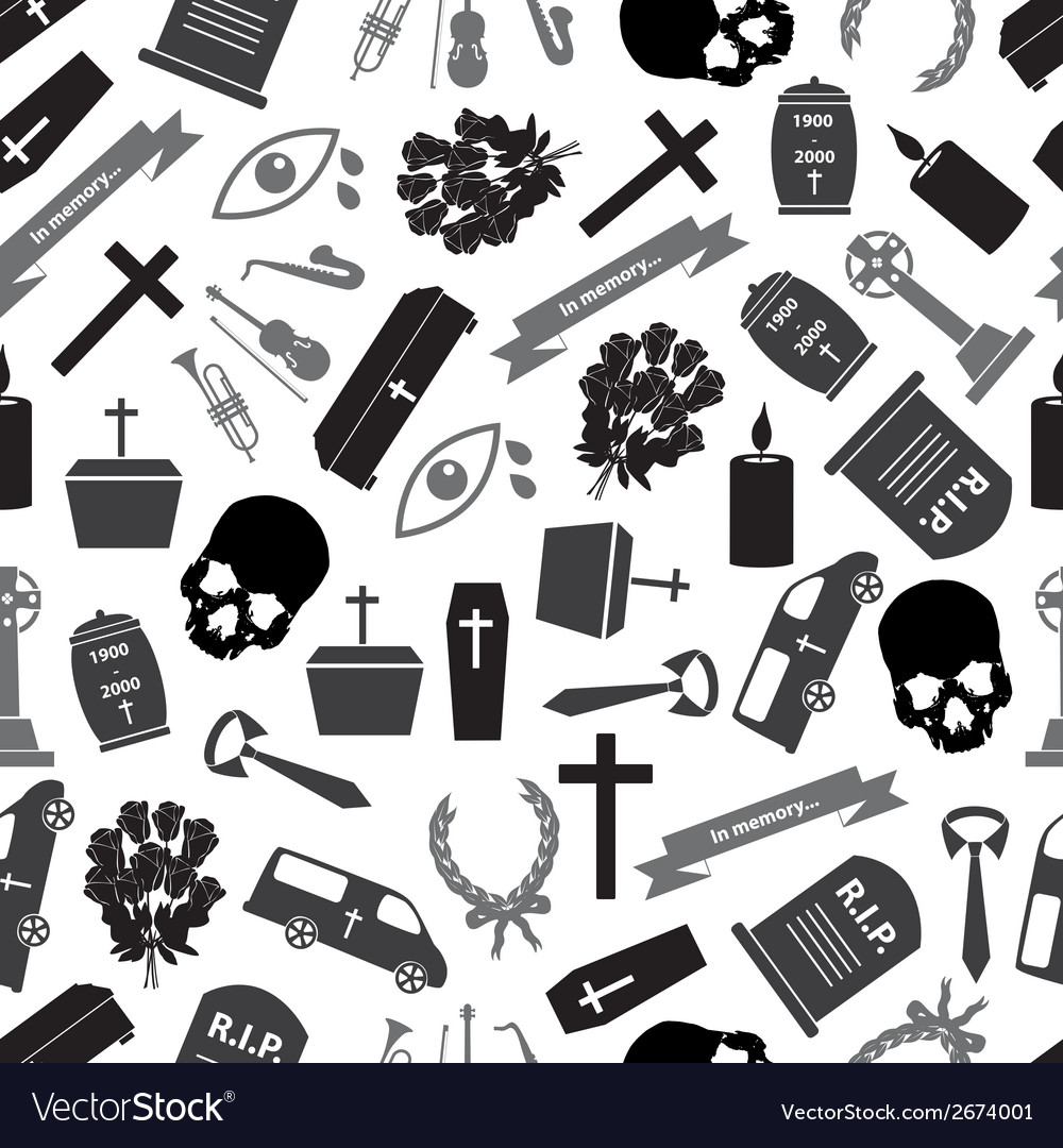 Funeral icons grayscale seamless pattern eps10 vector | Price: 1 Credit (USD $1)
