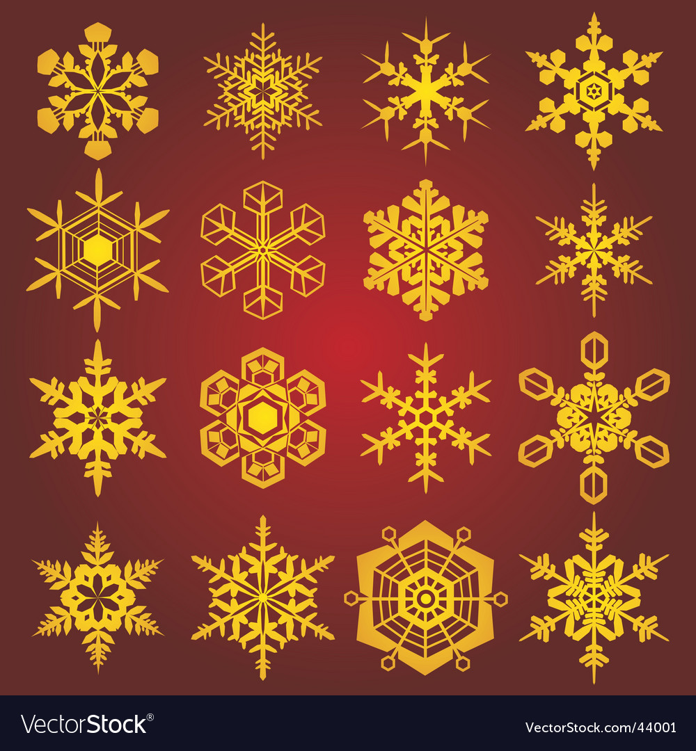 Gold snow-flakes vector | Price: 1 Credit (USD $1)