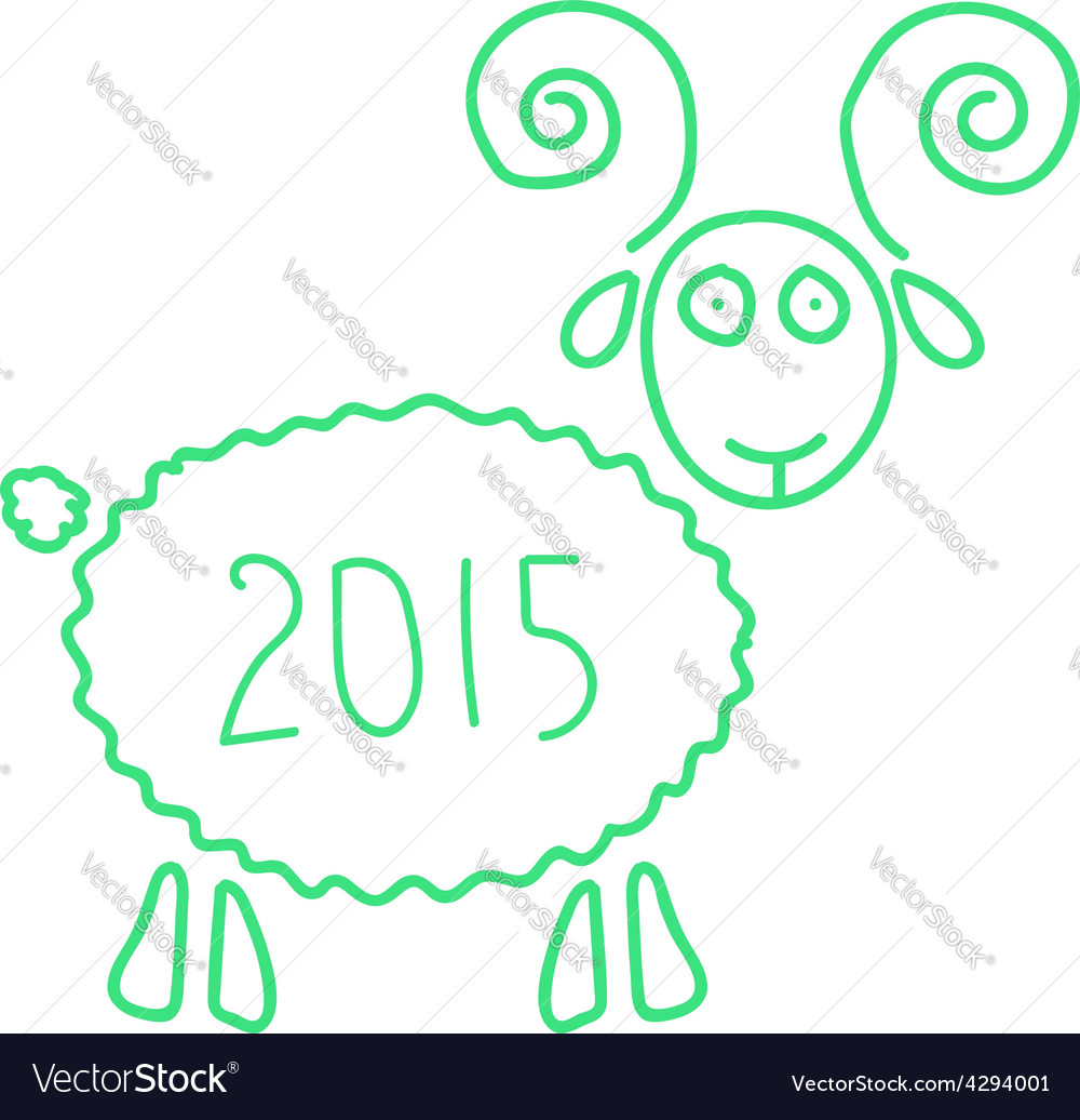 Green wooden sheep like symbol of 2015 year vector | Price: 1 Credit (USD $1)