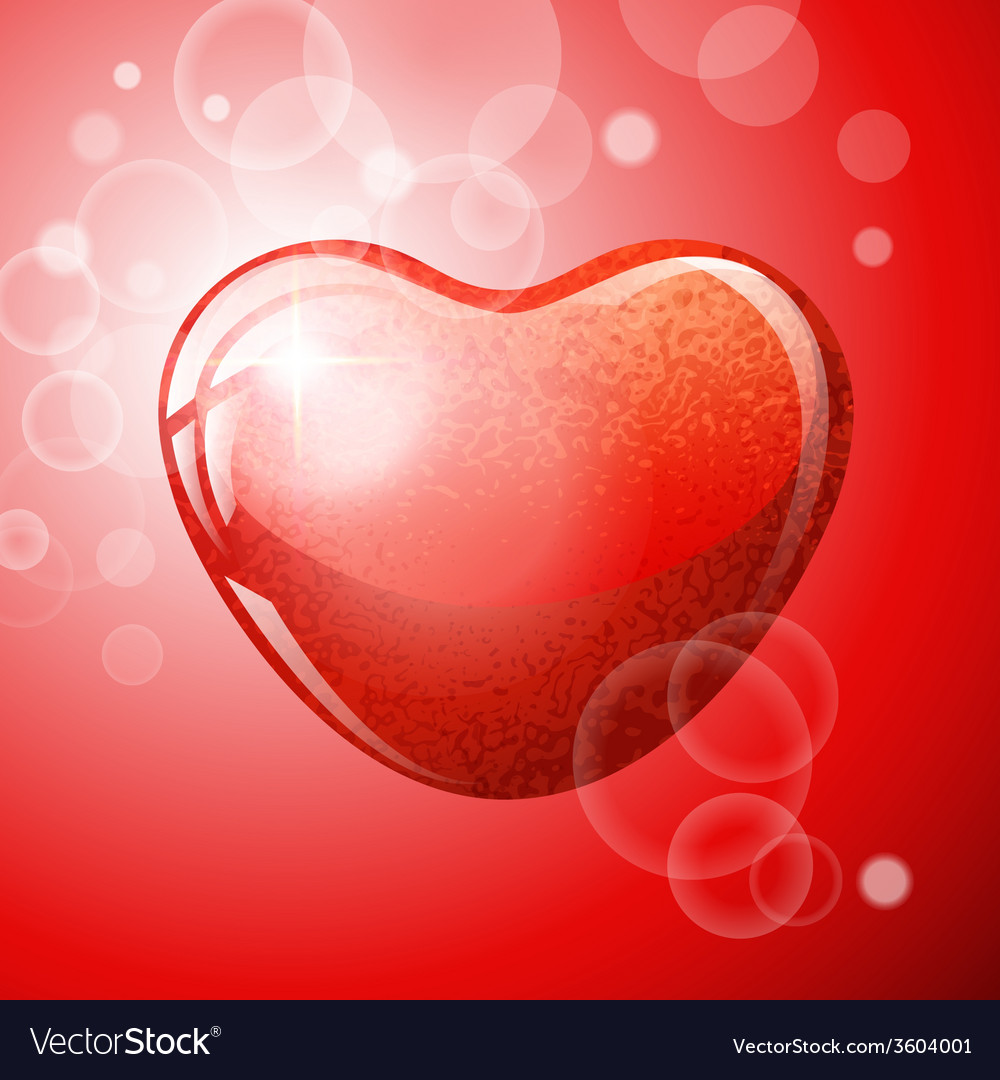 Heart red shape on red background vector | Price: 1 Credit (USD $1)