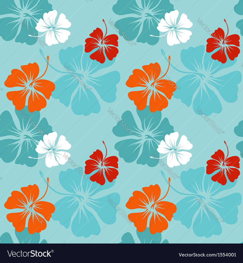 Hibiscus pattern in blue vector | Price: 1 Credit (USD $1)