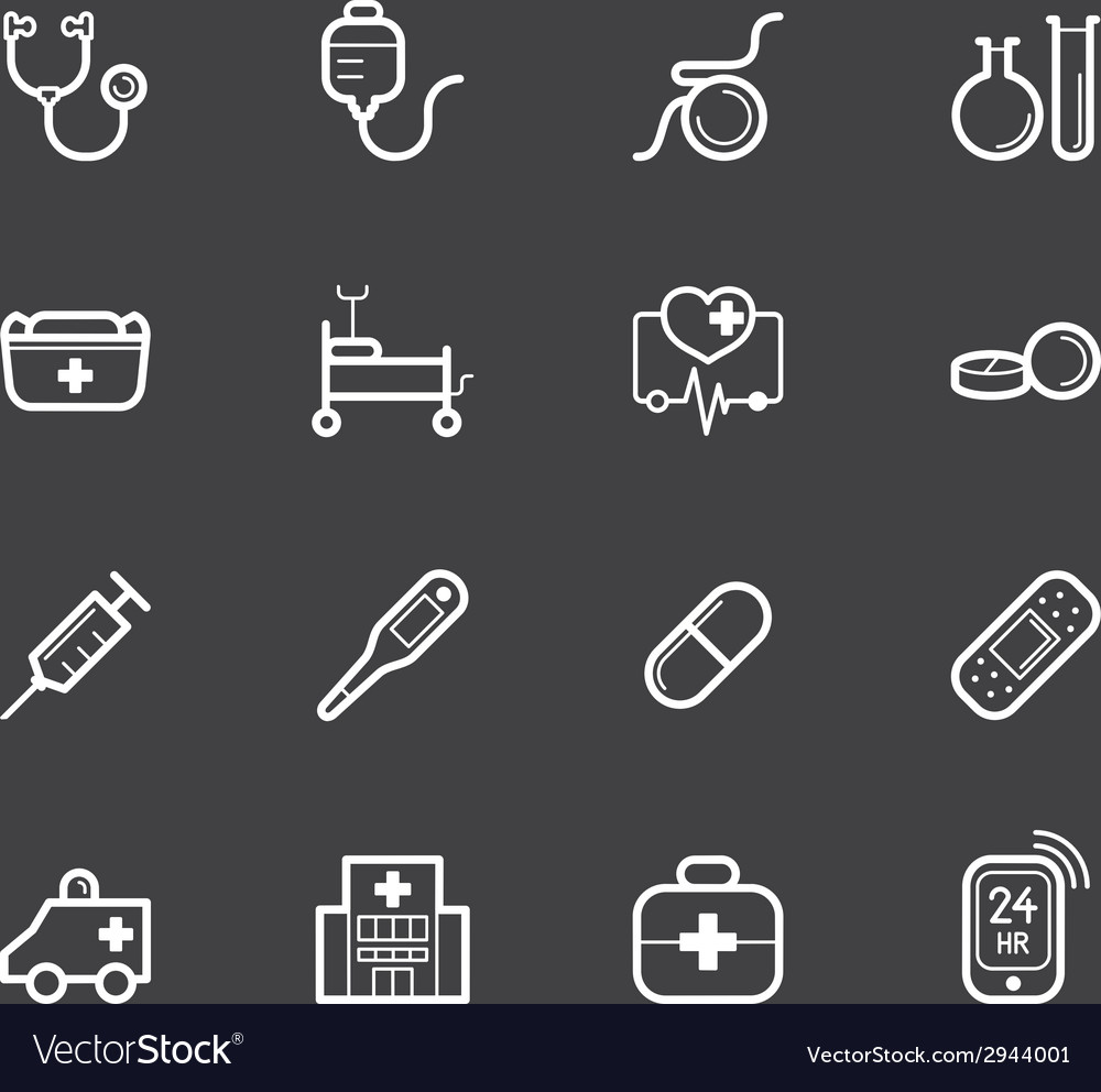 Hospital element white icon set on black backgroun vector | Price: 1 Credit (USD $1)