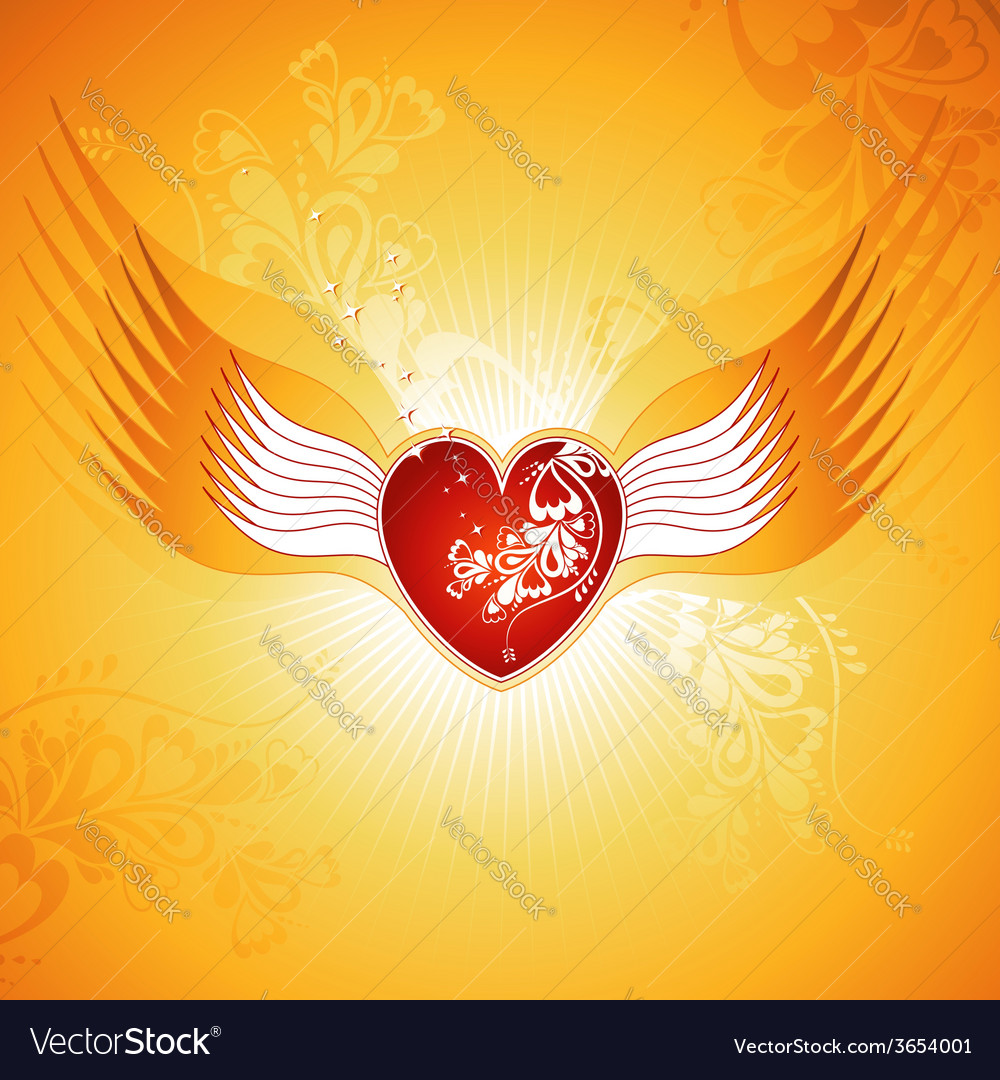 Lovely red heart on golden background with wings vector | Price: 1 Credit (USD $1)