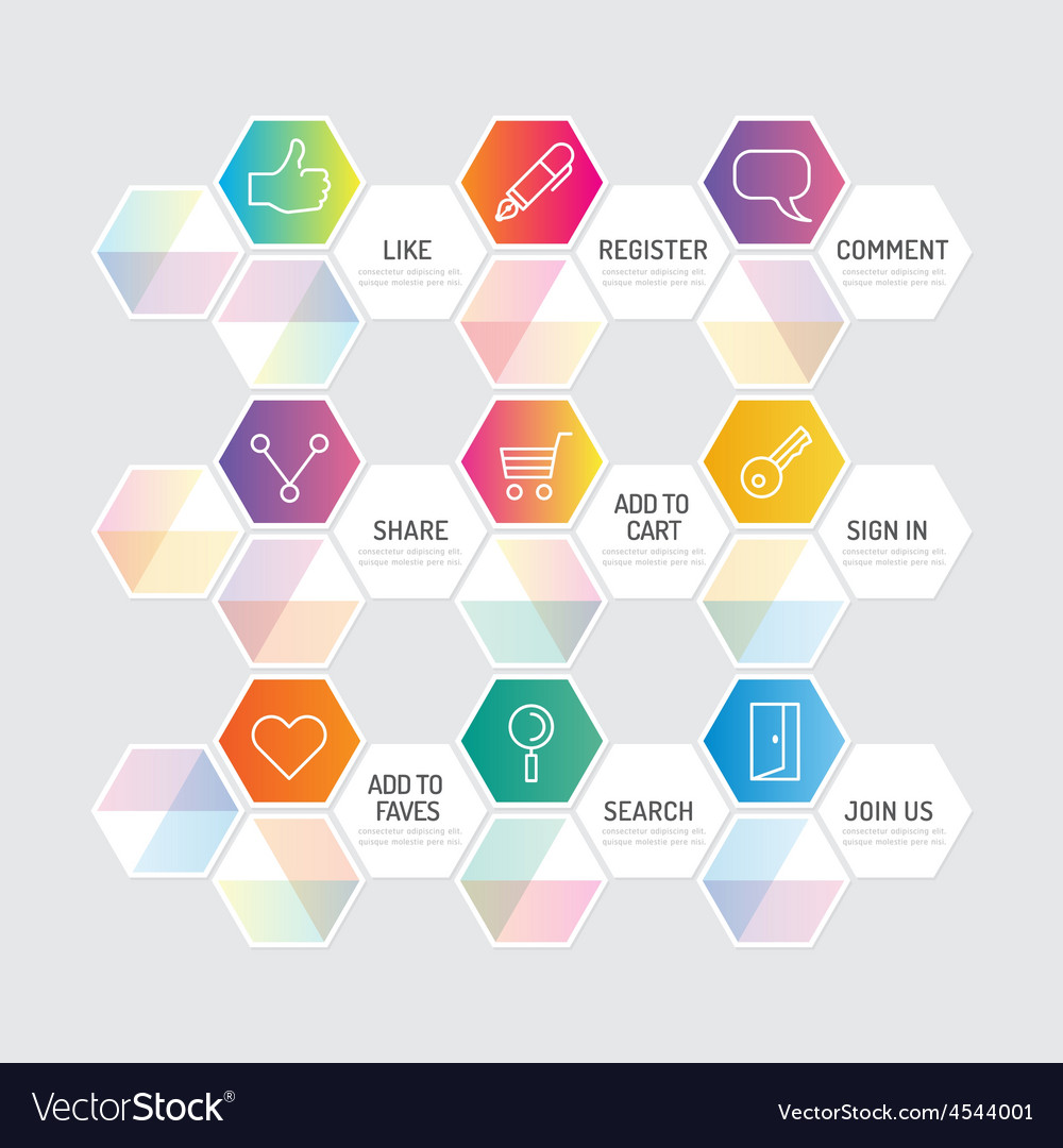 Modern banner button with social icon design vector | Price: 1 Credit (USD $1)