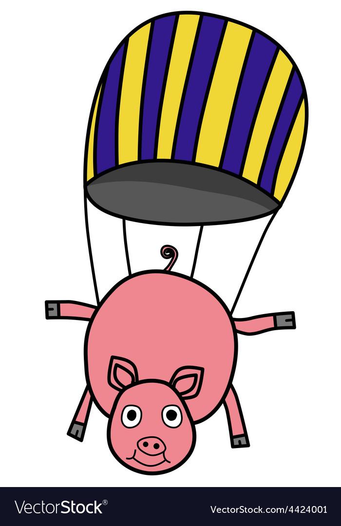 Parachuting pig vector | Price: 1 Credit (USD $1)
