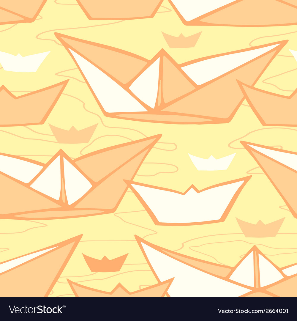 Seamless pattern with paper shipsd vector | Price: 1 Credit (USD $1)