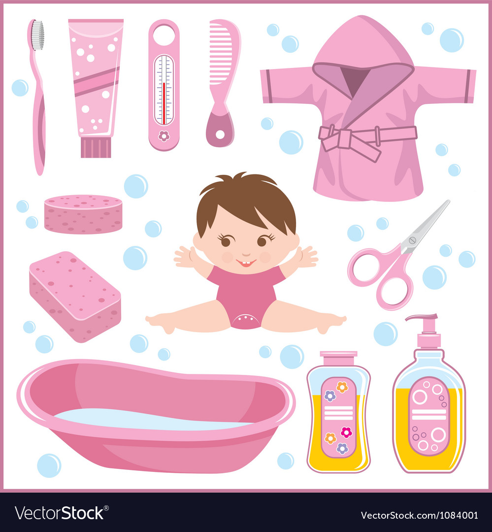 Set of children things for bathing vector | Price: 3 Credit (USD $3)