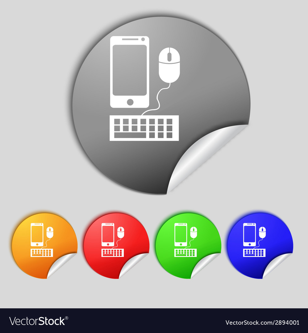 Smartphone widescreen monitor keyboard mouse sign vector | Price: 1 Credit (USD $1)