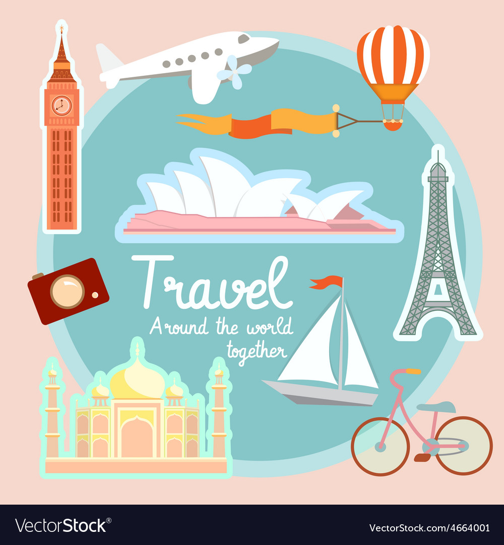 Travel and tourism around the world vector | Price: 1 Credit (USD $1)
