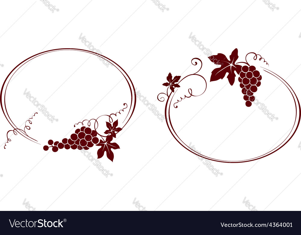 Two vintage frame with a grapes vector