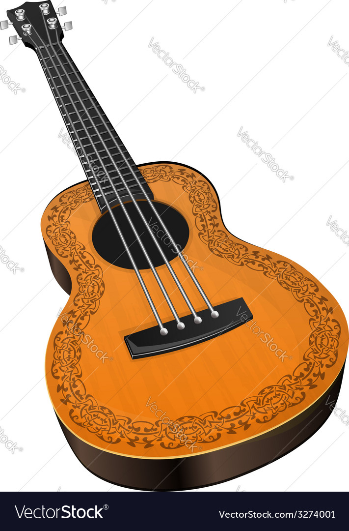 Ukulele with floral border vector | Price: 1 Credit (USD $1)