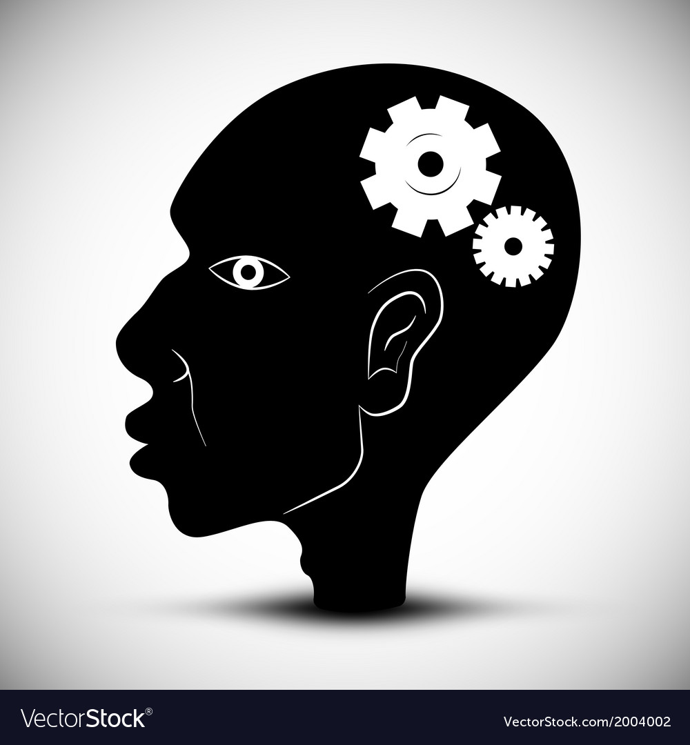 Black man head with cogs - gears vector | Price: 1 Credit (USD $1)
