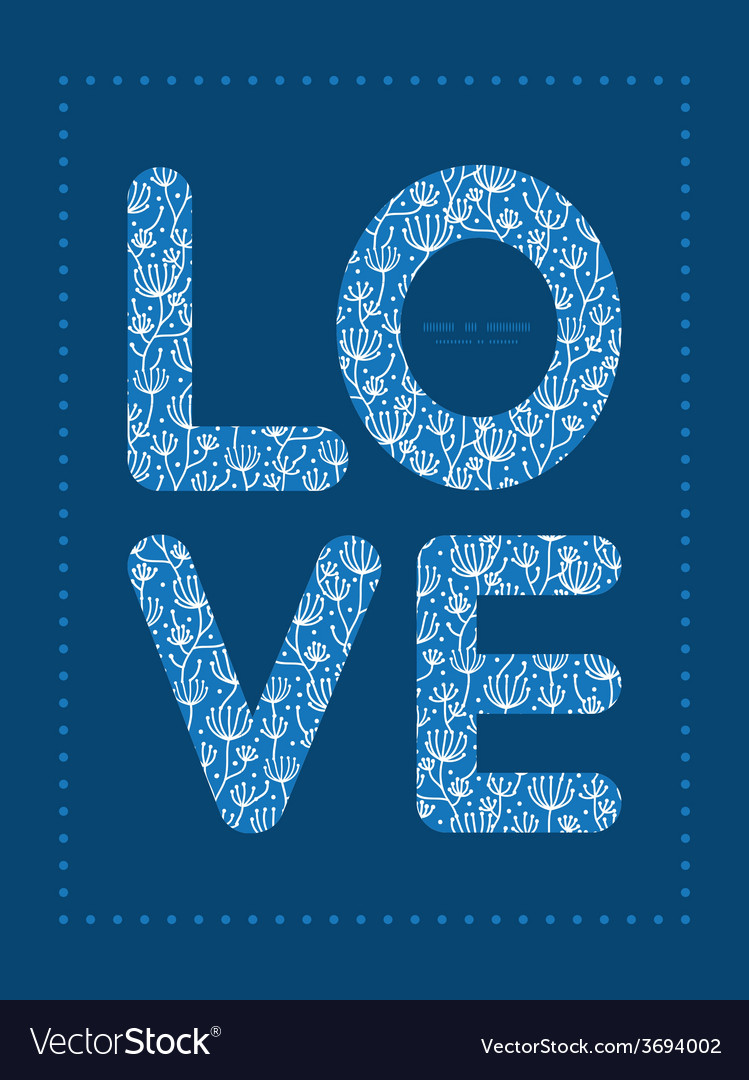 Blue white lineart plants love text frame vector | Price: 1 Credit (USD $1)