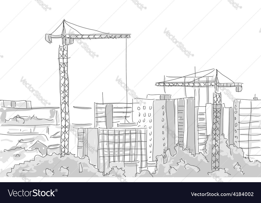 Building construction tower crane draw graphic vector | Price: 1 Credit (USD $1)
