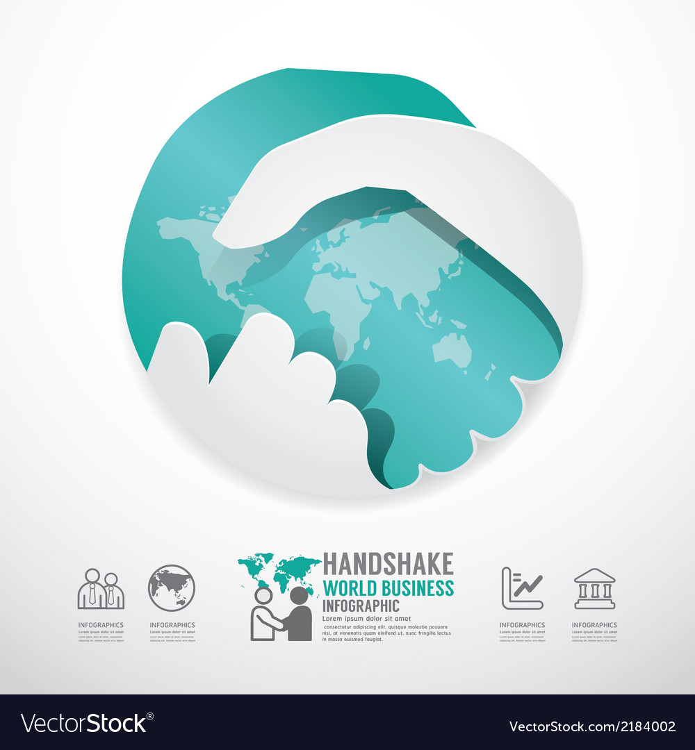 Business handshake business with world paper style vector | Price: 1 Credit (USD $1)