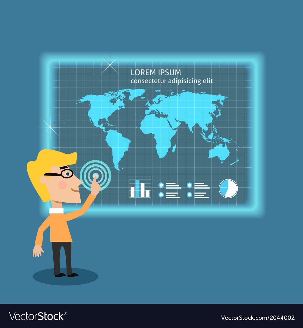 Business man analysing big data vector | Price: 1 Credit (USD $1)