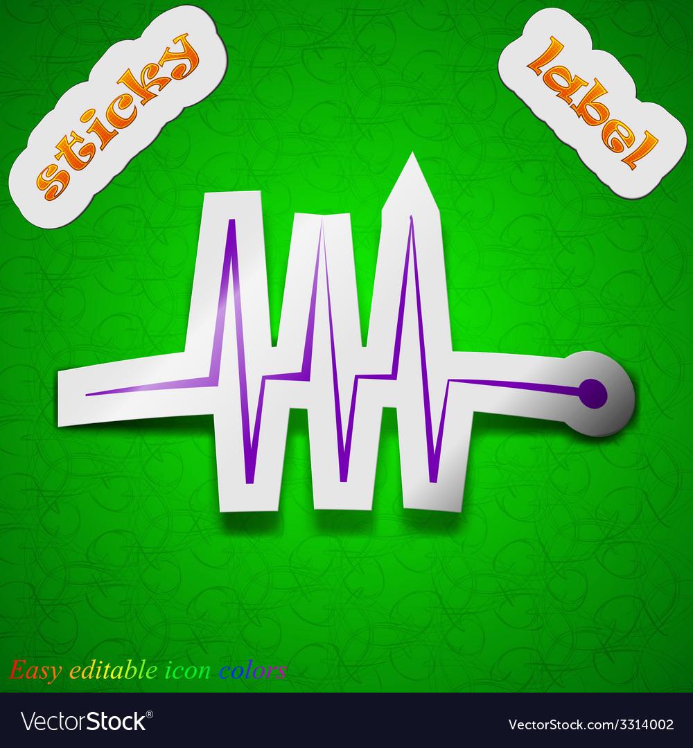 Cardiogram monitoring icon sign symbol chic vector | Price: 1 Credit (USD $1)
