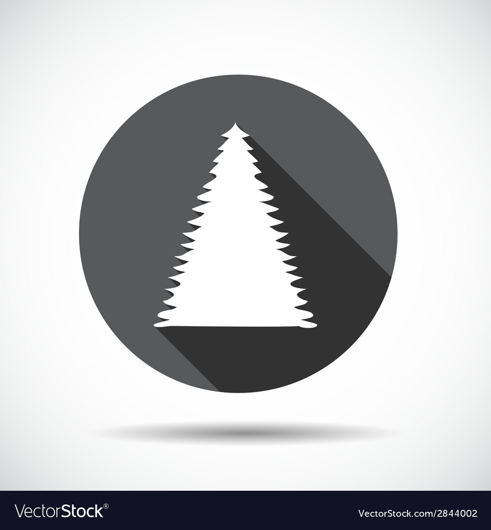 Christmas tree flat icon with long shadow vector | Price: 1 Credit (USD $1)