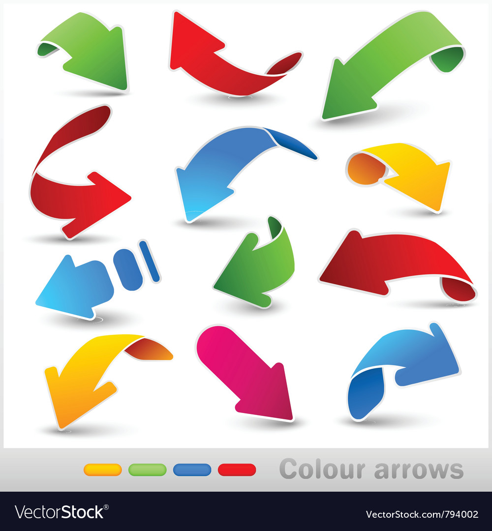 Collection of colour arrows vector | Price: 1 Credit (USD $1)