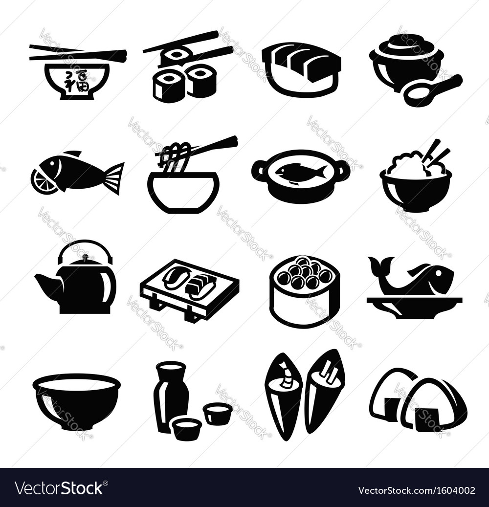 Japan food icons vector | Price: 1 Credit (USD $1)