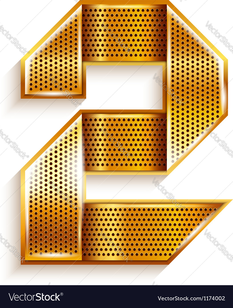 Number metal gold ribbon - 2 - two vector | Price: 1 Credit (USD $1)